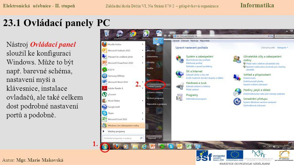23.2 Co už umíme – změnit pozadí a spořič obrazovky Elektronická učebnice - II.