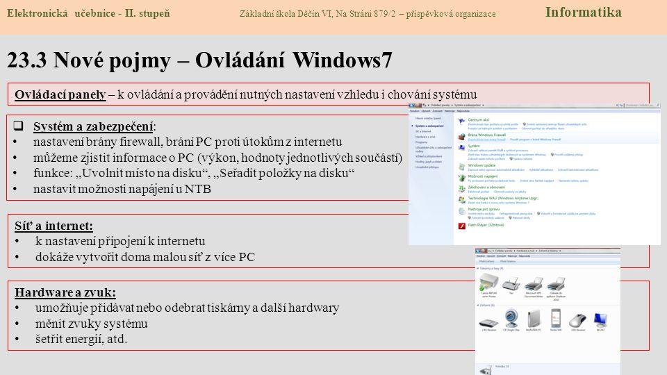 23.4 Ovládací panely PC Elektronická učebnice - II.