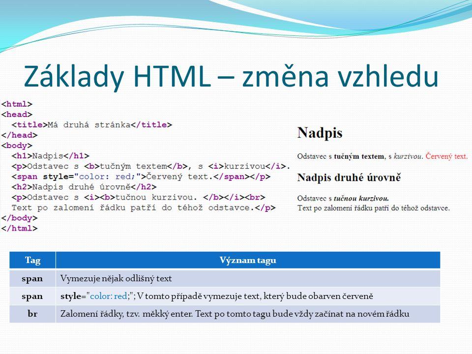 Základy HTML – změna vzhledu TagVýznam tagu spanVymezuje nějak odlišný text spanstyle=