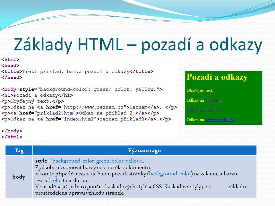 Základy HTML – pozadí a odkazy TagVýznam tagu body style=