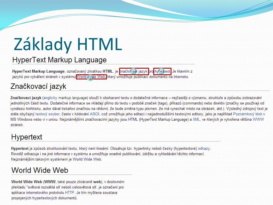 Základy HTML – změna vzhledu TagVýznam tagu h1Nadpis první úrovně (obecně se do něj vkládá název či slogan stránky) h2–h6Nadpisy dalších úrovní pOdstavec bTučný text iKurzíva
