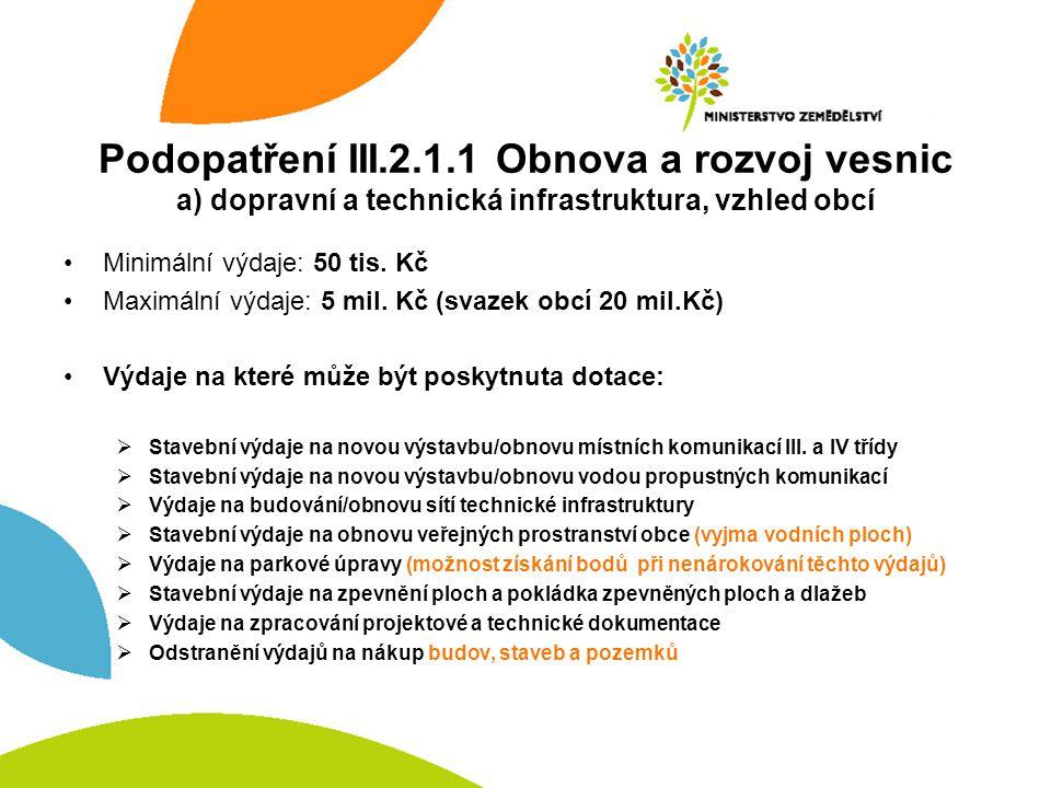 Podopatření III.2.1.1 Obnova a rozvoj vesnic a) dopravní a technická infrastruktura, vzhled obcí Minimální výdaje: 50 tis.