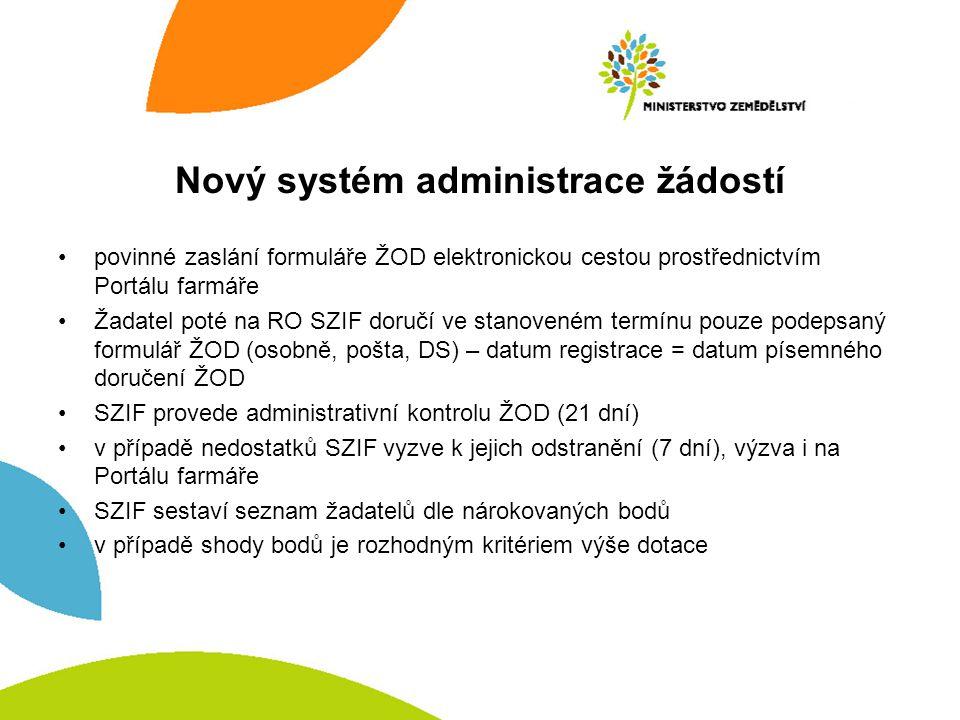 Nový systém administrace žádostí povinné zaslání formuláře ŽOD elektronickou cestou prostřednictvím Portálu farmáře Žadatel poté na RO SZIF doručí ve stanoveném termínu pouze podepsaný formulář ŽOD (osobně, pošta, DS) – datum registrace = datum písemného doručení ŽOD SZIF provede administrativní kontrolu ŽOD (21 dní) v případě nedostatků SZIF vyzve k jejich odstranění (7 dní), výzva i na Portálu farmáře SZIF sestaví seznam žadatelů dle nárokovaných bodů v případě shody bodů je rozhodným kritériem výše dotace