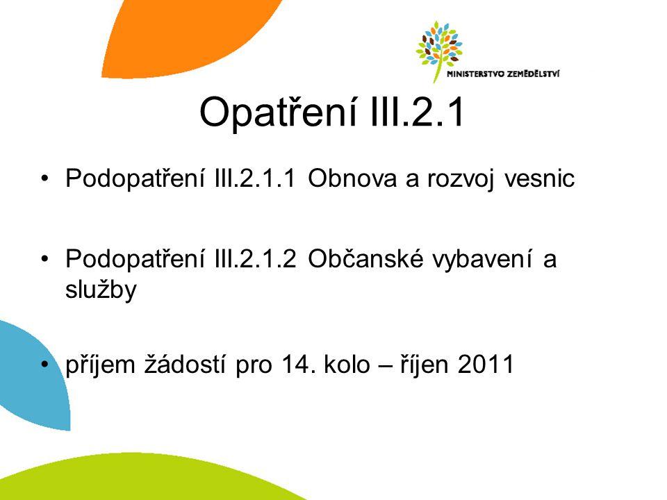 Opatření III.2.1 Podopatření III.2.1.1 Obnova a rozvoj vesnic Podopatření III.2.1.2 Občanské vybavení a služby příjem žádostí pro 14.