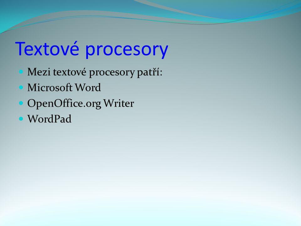 Textové procesory Mezi textové procesory patří: Microsoft Word OpenOffice.org Writer WordPad