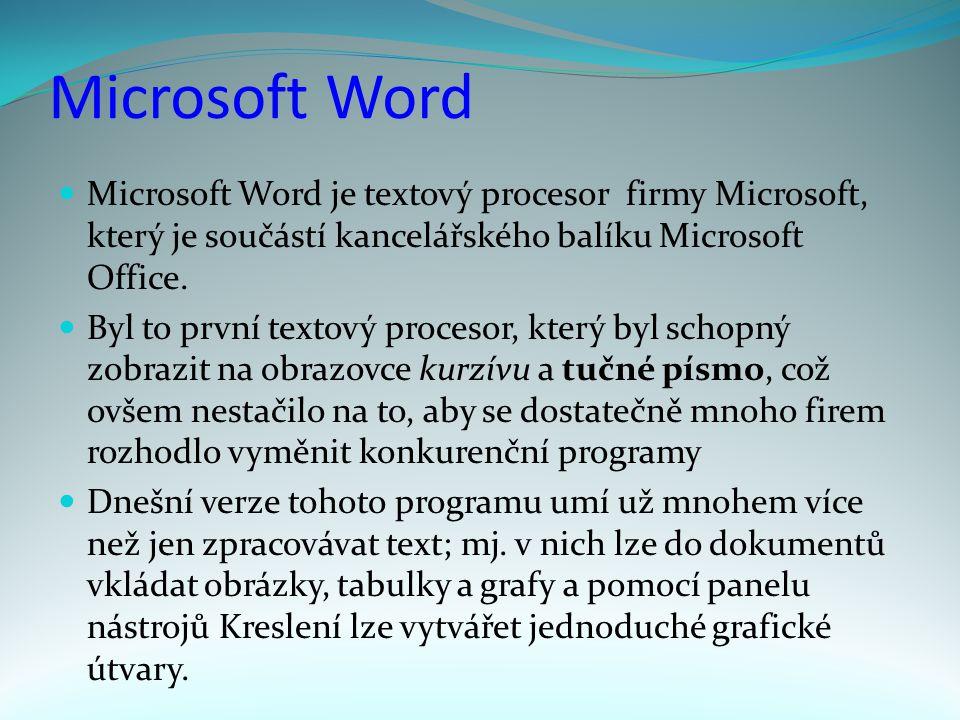 Microsoft Word Microsoft Word je textový procesor firmy Microsoft, který je součástí kancelářského balíku Microsoft Office.