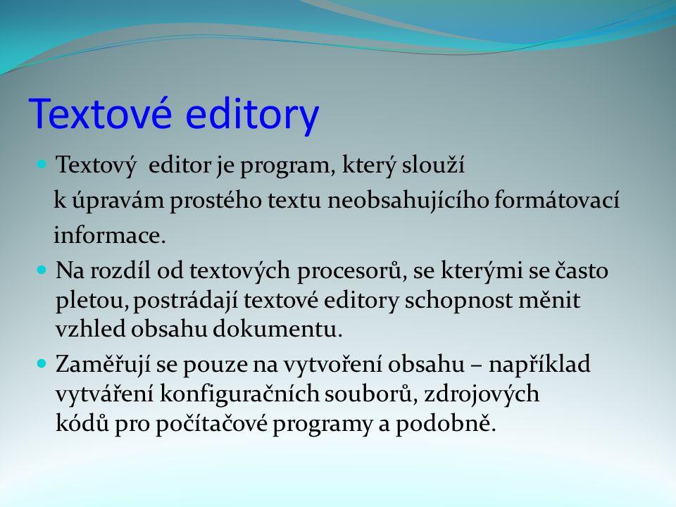 Textové editory Textový editor je program, který slouží k úpravám prostého textu neobsahujícího formátovací informace.
