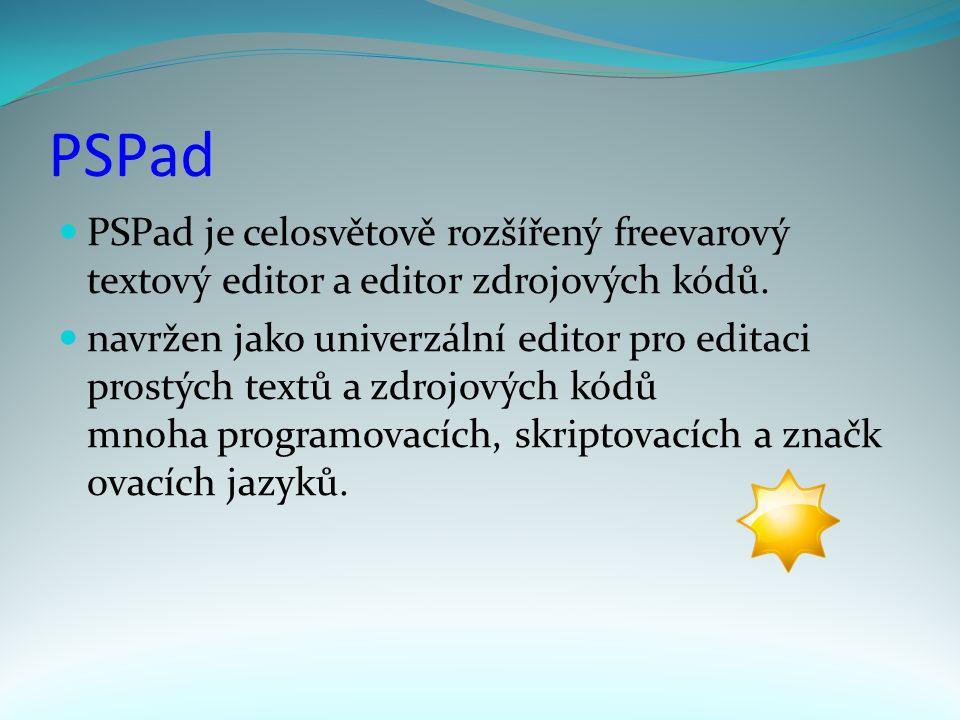 PSPad PSPad je celosvětově rozšířený freevarový textový editor a editor zdrojových kódů.