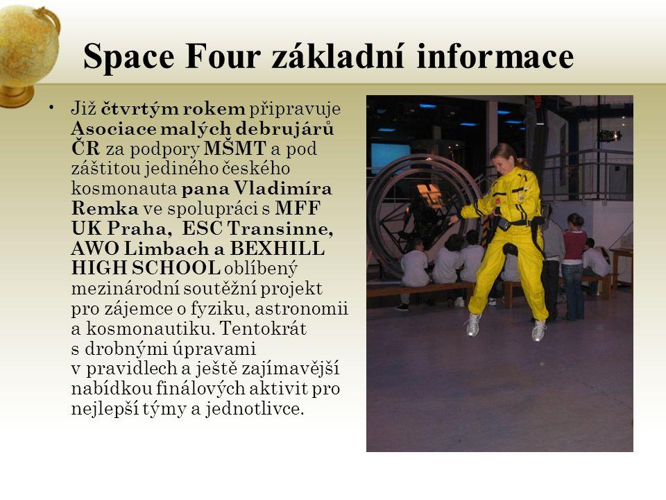 Space Four základní informace Již čtvrtým rokem připravuje Asociace malých debrujárů ČR za podpory MŠMT a pod záštitou jediného českého kosmonauta pana Vladimíra Remka ve spolupráci s MFF UK Praha, ESC Transinne, AWO Limbach a BEXHILL HIGH SCHOOL oblíbený mezinárodní soutěžní projekt pro zájemce o fyziku, astronomii a kosmonautiku.