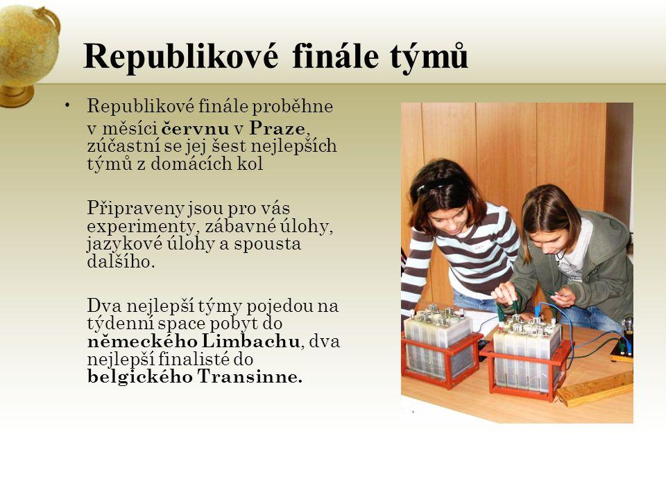 Republikové finále týmů Republikové finále proběhne v měsíci červnu v Praze, zúčastní se jej šest nejlepších týmů z domácích kol Připraveny jsou pro vás experimenty, zábavné úlohy, jazykové úlohy a spousta dalšího.
