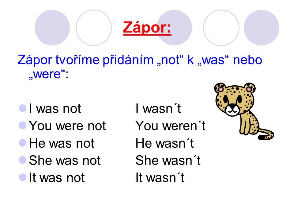 Zápor: We were notWe weren´t You were notYou weren´t They were notThey weren´t They weren´t at the dentist´s.