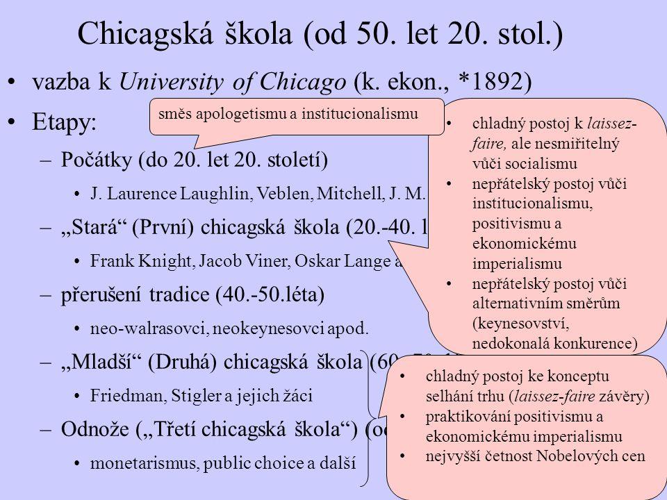 Chicagská škola (od 50. let 20. stol.) vazba k University of Chicago (k. ekon., *1892) Etapy: –Počátky (do 20. let 20. století) J. Laurence Laughlin,