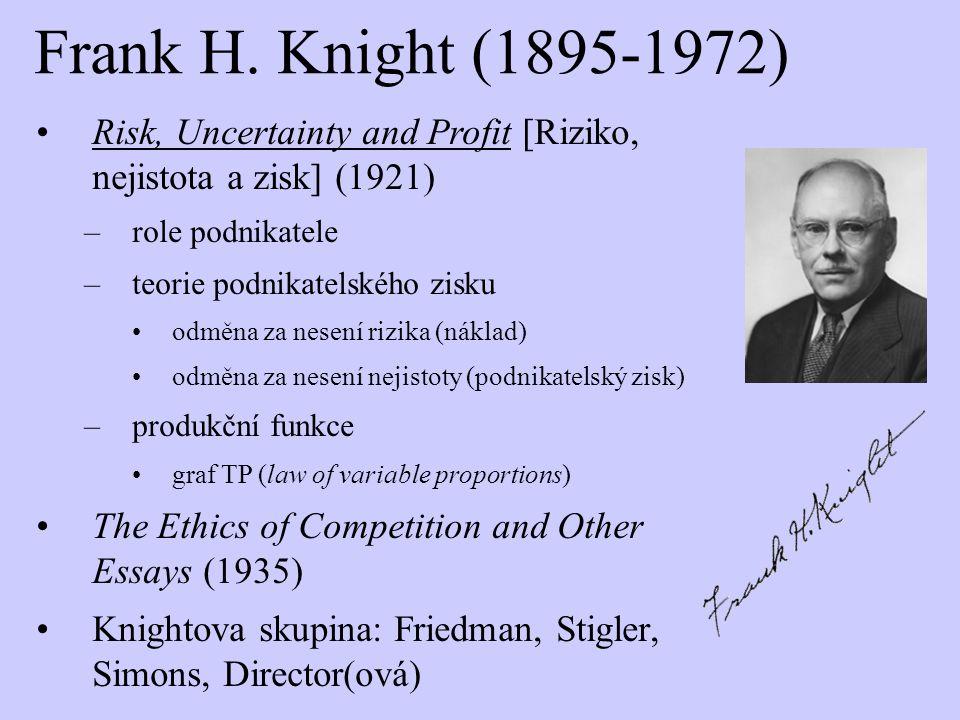 Frank H. Knight (1895-1972) Risk, Uncertainty and Profit [Riziko, nejistota a zisk] (1921) –role podnikatele –teorie podnikatelského zisku odměna za n