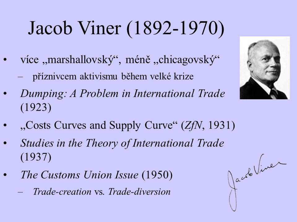 """Jacob Viner (1892-1970) více """"marshallovský"""", méně """"chicagovský"""" –příznivcem aktivismu během velké krize Dumping: A Problem in International Trade (19"""