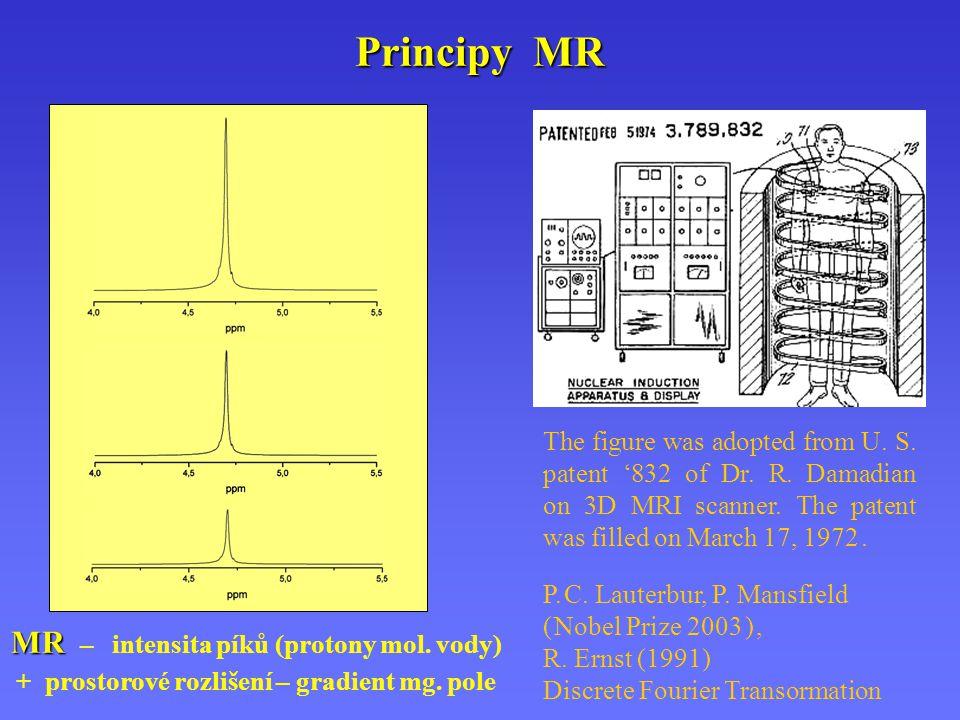 Principy MR MR MR – intensita píků (protony mol. vody) + prostorové rozlišení – gradient mg. pole The figure was adopted from U. S. patent '832 of Dr.