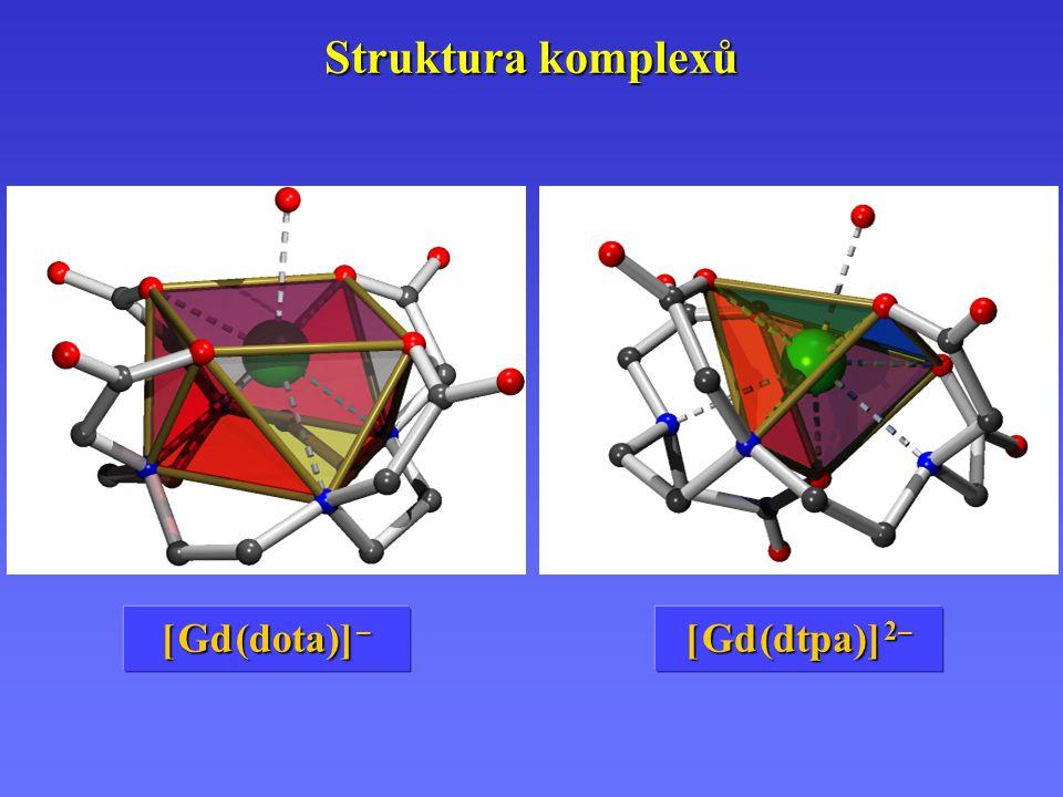 Struktura komplexů [Gd (dtpa)] 2– [ Gd (dtpa)] 2– [Gd (dota)] – [ Gd (dota)] –