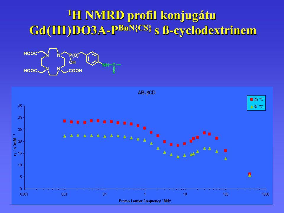1 H NMRD profil konjugátu Gd(III)DO3A-P BnN{CS} s ß-cyclodextrinem 1 H NMRD profil konjugátu Gd ( III ) DO3A-P BnN{CS} s ß-cyclodextrinem