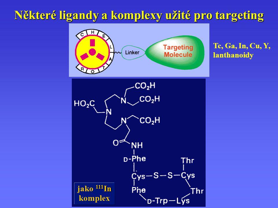 Některé ligandy a komplexy užité pro targeting 111 In jako 111 In komplex Tc, Ga, In, Cu, Y, lanthanoidy