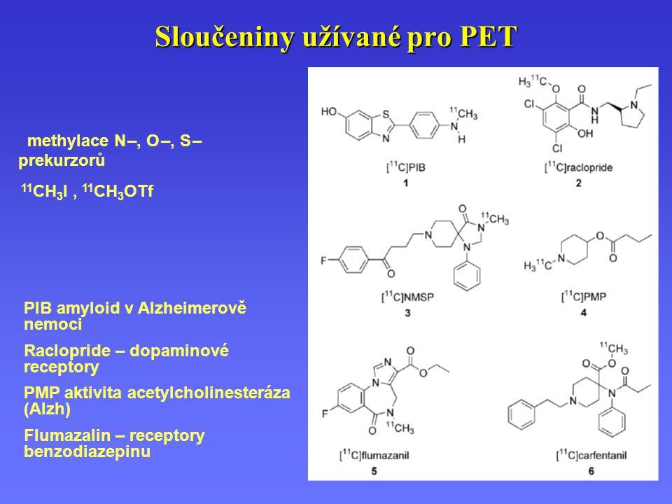 methylace N –, O –, S – prekurzorů 11 CH 3 I, 11 CH 3 OTf PIB amyloid v Alzheimerově nemoci Raclopride – dopaminové receptory PMP aktivita acetylcholi