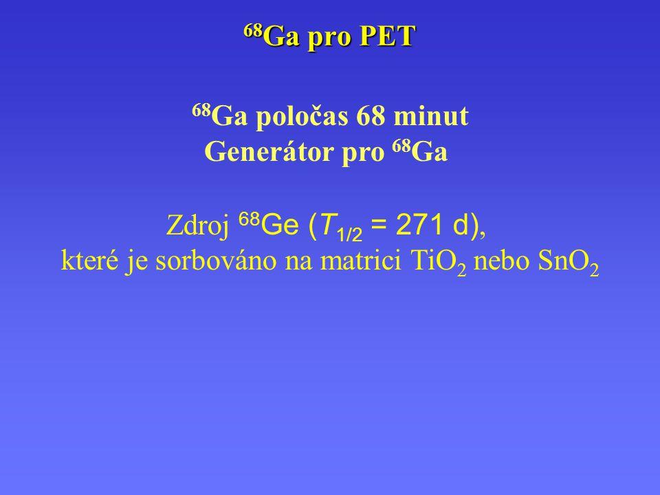 68 Ga poločas 68 minut Generátor pro 68 Ga Zdroj 68 Ge (T 1/2 = 271 d), které je sorbováno na matrici TiO 2 nebo SnO 2 68 Ga pro PET