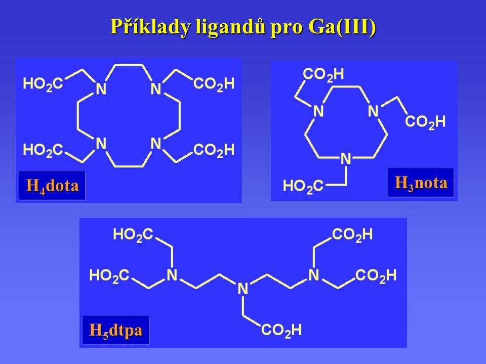 Příklady ligandů pro Ga(III) H 5 dtpa H 4 dota H 3 nota