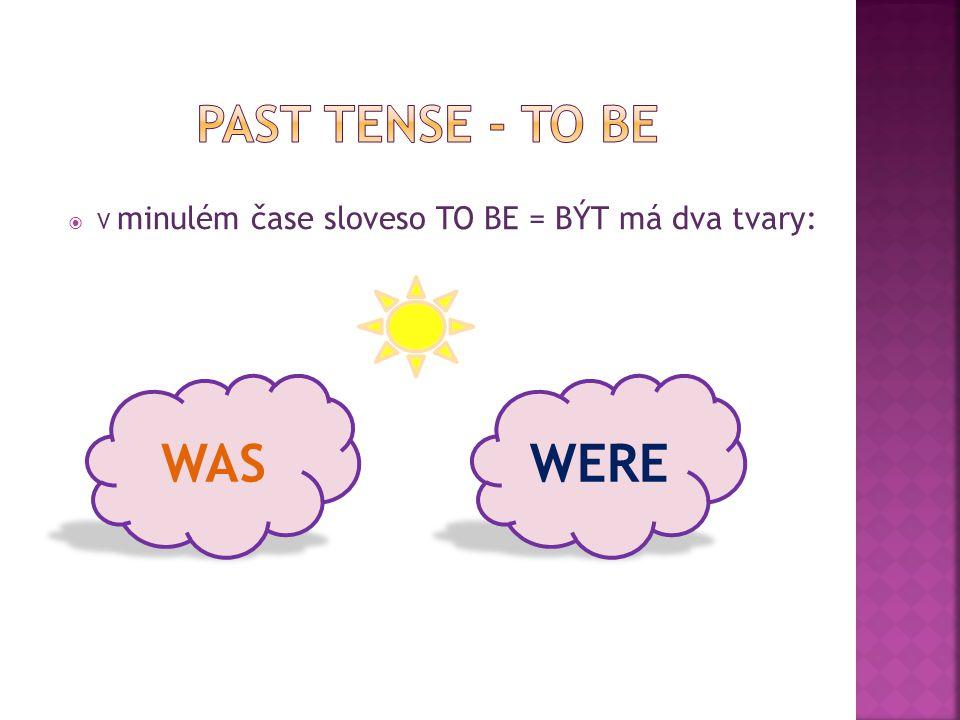  V minulém čase sloveso TO BE = BÝT má dva tvary: WASWERE