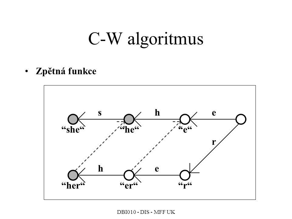 DBI010 - DIS - MFF UK C-W algoritmus Zpětná funkce she e he she he r r er her