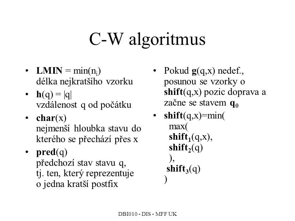 DBI010 - DIS - MFF UK C-W algoritmus LMIN = min(n i ) délka nejkratšího vzorku h(q) = |q| vzdálenost q od počátku char(x) nejmenší hloubka stavu do kterého se přechází přes x pred(q) předchozí stav stavu q, tj.