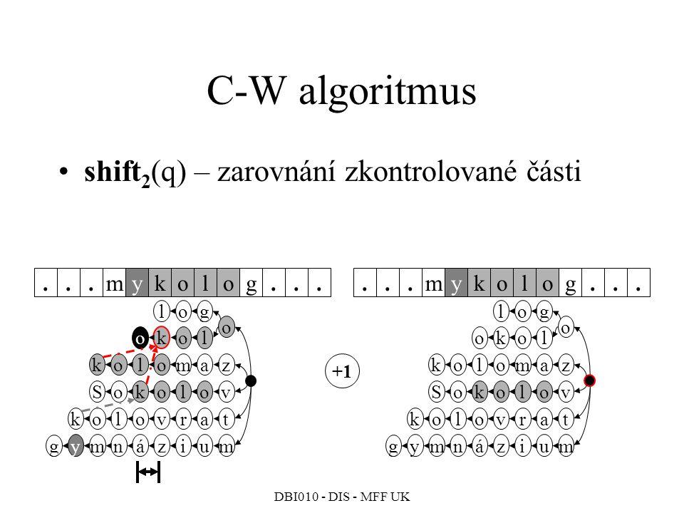 DBI010 - DIS - MFF UK C-W algoritmus shift 2 (q) – zarovnání zkontrolované části mkyolog......mkyolog......