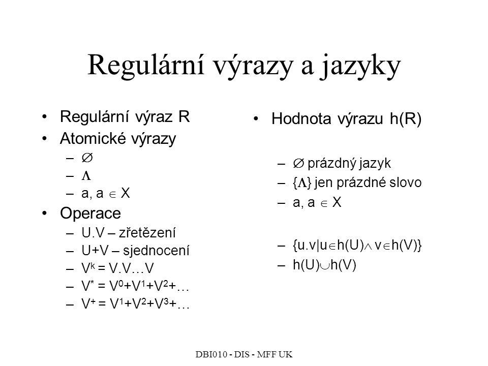 DBI010 - DIS - MFF UK Regulární výrazy a jazyky Regulární výraz R Atomické výrazy –  –  –a, a  X Operace –U.V – zřetězení –U+V – sjednocení –V k = V.V…V –V * = V 0 +V 1 +V 2 +… –V + = V 1 +V 2 +V 3 +… Hodnota výrazu h(R) –  prázdný jazyk –{  } jen prázdné slovo –a, a  X –{u.v|u  h(U)  v  h(V)} –h(U)  h(V)