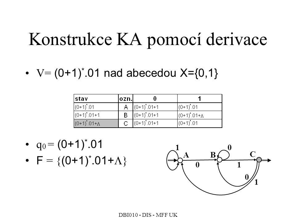 DBI010 - DIS - MFF UK Konstrukce KA pomocí derivace V= (0+1) *.01 nad abecedou X={0,1} q 0 = (0+1) *.01 F = { (0+1) *.01+  } 0 B 0 0 C 1 A 1 1