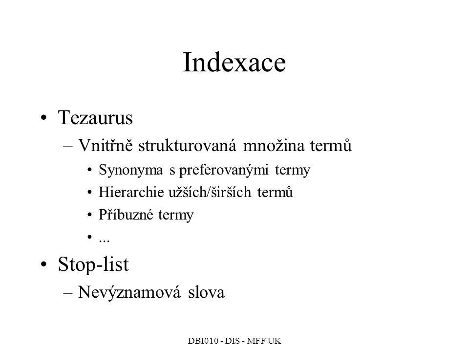 DBI010 - DIS - MFF UK Indexace Tezaurus –Vnitřně strukturovaná množina termů Synonyma s preferovanými termy Hierarchie užších/širších termů Příbuzné termy...
