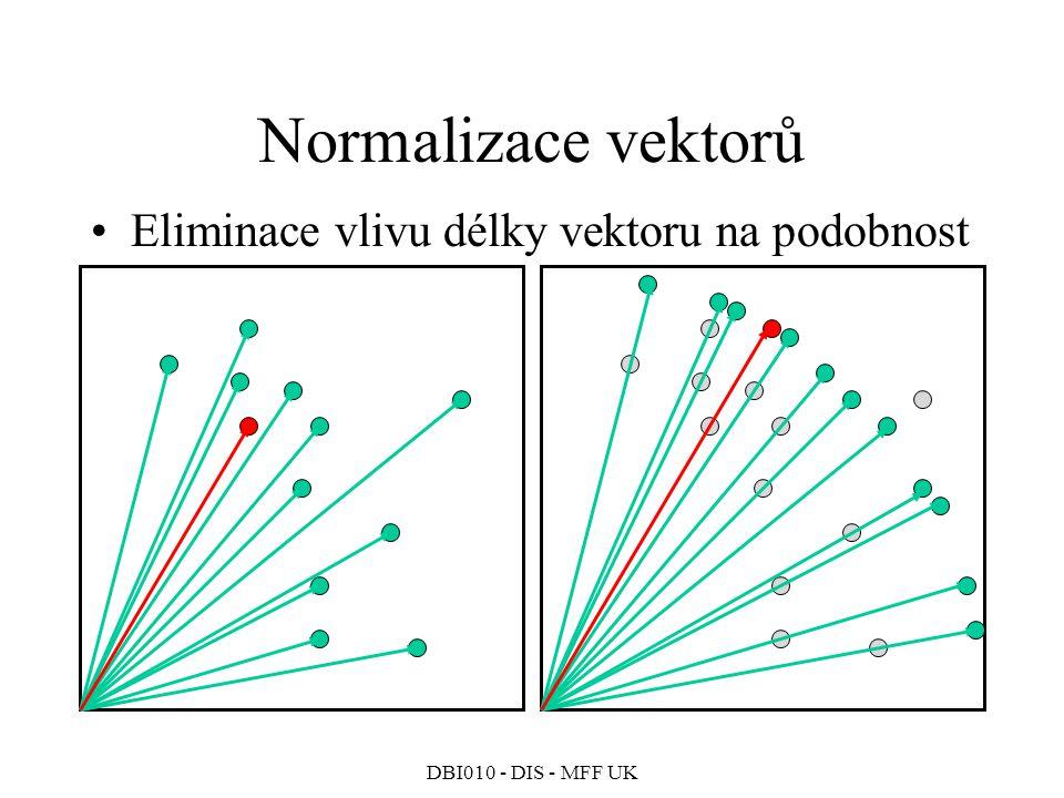 DBI010 - DIS - MFF UK Normalizace vektorů Eliminace vlivu délky vektoru na podobnost