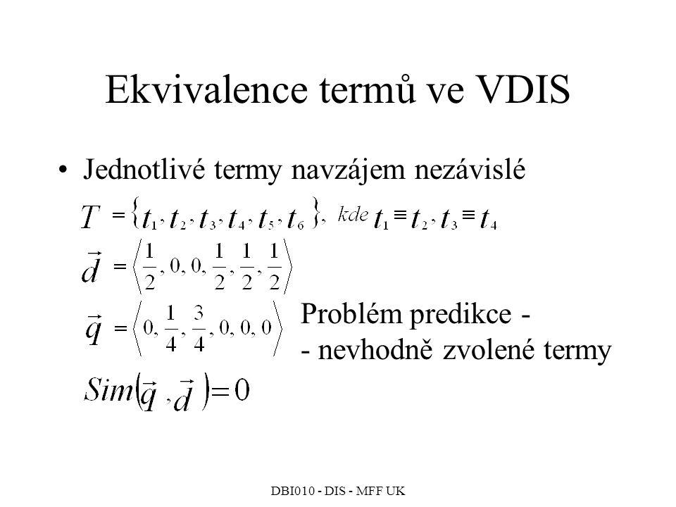 DBI010 - DIS - MFF UK Ekvivalence termů ve VDIS Jednotlivé termy navzájem nezávislé Problém predikce - - nevhodně zvolené termy