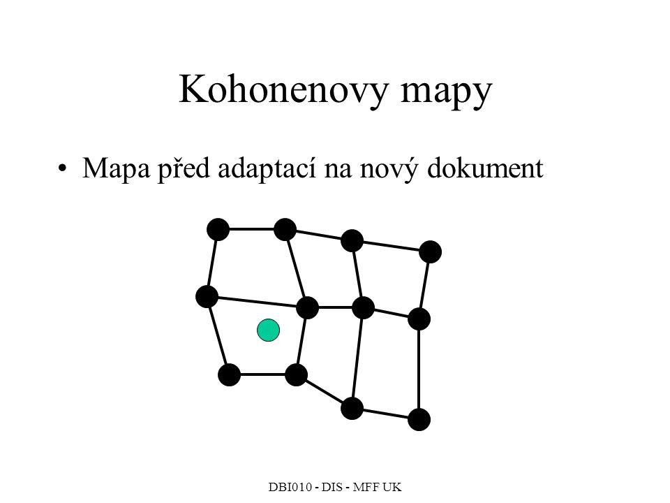 DBI010 - DIS - MFF UK Kohonenovy mapy Mapa před adaptací na nový dokument
