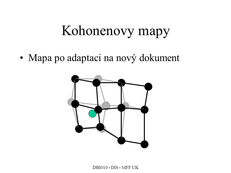 DBI010 - DIS - MFF UK Kohonenovy mapy Mapa po adaptaci na nový dokument