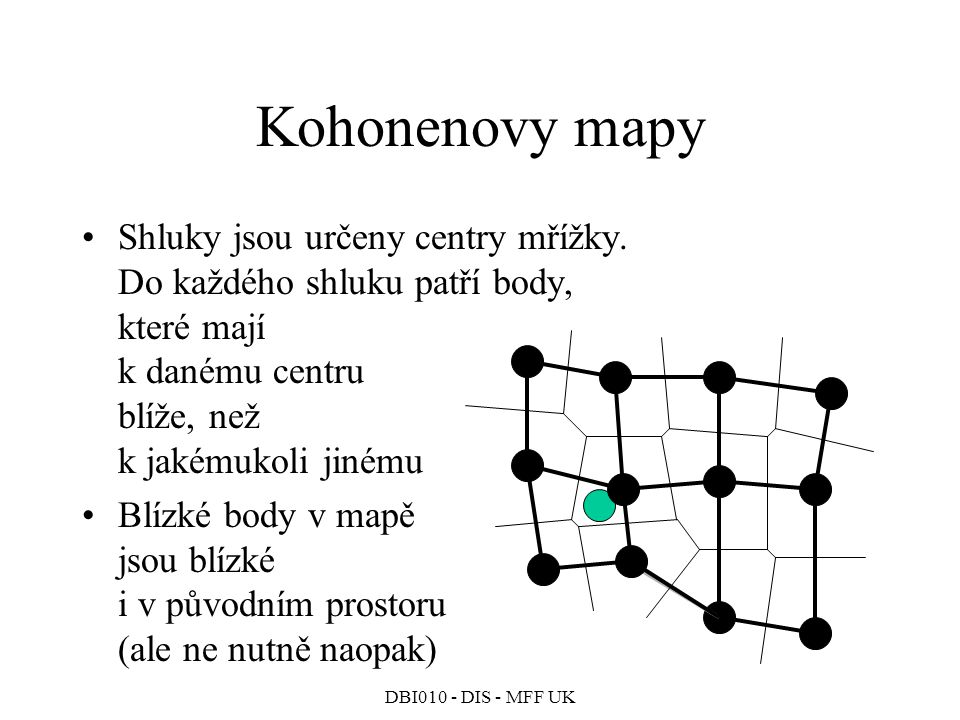 DBI010 - DIS - MFF UK Kohonenovy mapy Shluky jsou určeny centry mřížky.