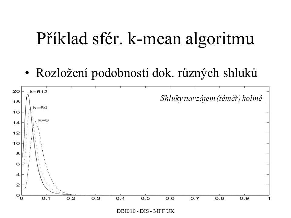 DBI010 - DIS - MFF UK Příklad sfér.k-mean algoritmu Rozložení podobností dok.