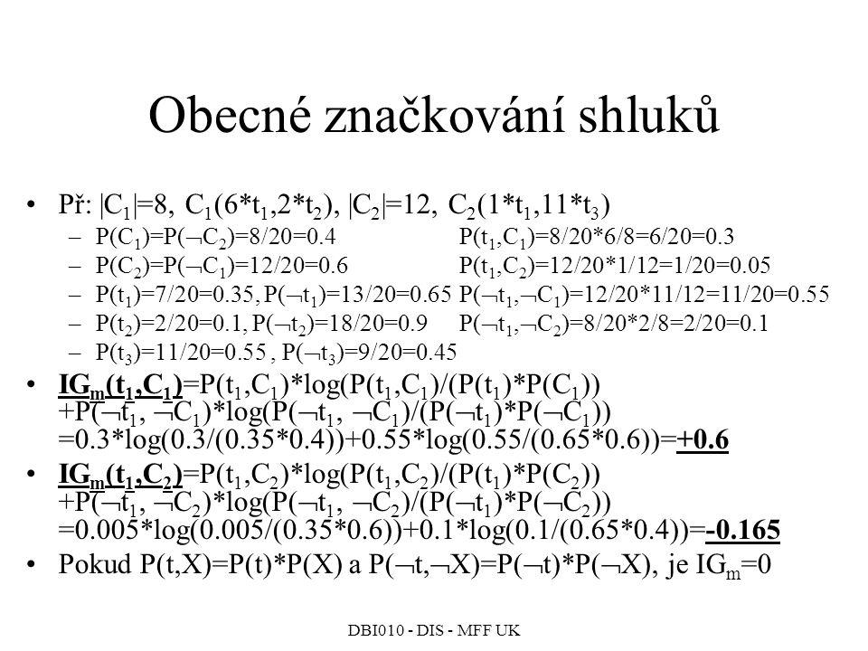 DBI010 - DIS - MFF UK Obecné značkování shluků Př: |C 1 |=8, C 1 (6*t 1,2*t 2 ), |C 2 |=12, C 2 (1*t 1,11*t 3 ) –P(C 1 )=P(  C 2 )=8/20=0.4P(t 1,C 1 )=8/20*6/8=6/20=0.3 –P(C 2 )=P(  C 1 )=12/20=0.6P(t 1,C 2 )=12/20*1/12=1/20=0.05 –P(t 1 )=7/20=0.35, P(  t 1 )=13/20=0.65P(  t 1,  C 1 )=12/20*11/12=11/20=0.55 –P(t 2 )=2/20=0.1, P(  t 2 )=18/20=0.9P(  t 1,  C 2 )=8/20*2/8=2/20=0.1 –P(t 3 )=11/20=0.55, P(  t 3 )=9/20=0.45 IG m (t 1,C 1 )=P(t 1,C 1 )*log(P(t 1,C 1 )/(P(t 1 )*P(C 1 )) +P(  t 1,  C 1 )*log(P(  t 1,  C 1 )/(P(  t 1 )*P(  C 1 )) =0.3*log(0.3/(0.35*0.4))+0.55*log(0.55/(0.65*0.6))=+0.6 IG m (t 1,C 2 )=P(t 1,C 2 )*log(P(t 1,C 2 )/(P(t 1 )*P(C 2 )) +P(  t 1,  C 2 )*log(P(  t 1,  C 2 )/(P(  t 1 )*P(  C 2 )) =0.005*log(0.005/(0.35*0.6))+0.1*log(0.1/(0.65*0.4))=-0.165 Pokud P(t,X)=P(t)*P(X) a P(  t,  X)=P(  t)*P(  X), je IG m =0