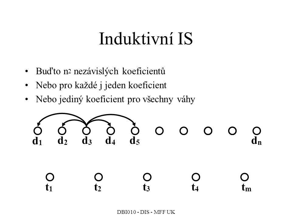 DBI010 - DIS - MFF UK Buďto n 2 nezávislých koeficientů Nebo pro každé j jeden koeficient Nebo jediný koeficient pro všechny váhy Induktivní IS d1d1 d2d2 d3d3 dndn t1t1 t2t2 t3t3 tmtm t4t4 d4d4 d5d5