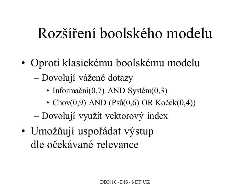 DBI010 - DIS - MFF UK Rozšíření boolského modelu Oproti klasickému boolskému modelu –Dovolují vážené dotazy Informační(0,7) AND Systém(0,3) Chov(0,9) AND (Psů(0,6) OR Koček(0,4)) –Dovolují využít vektorový index Umožňují uspořádat výstup dle očekávané relevance