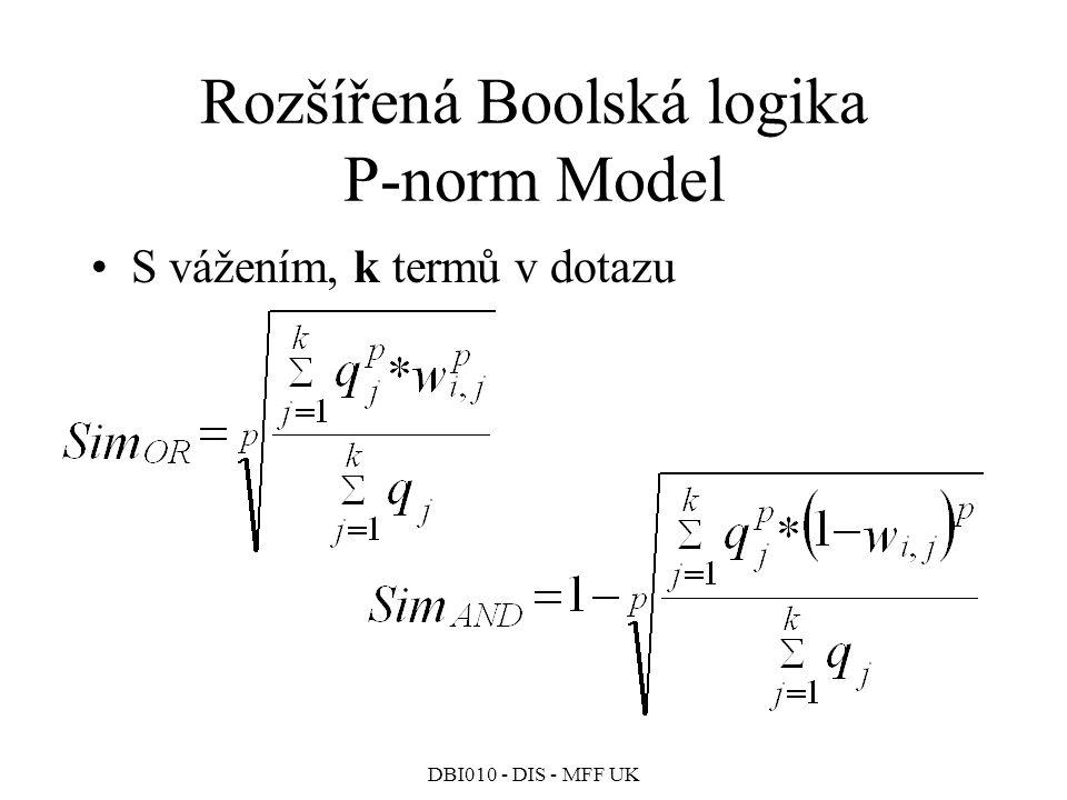 DBI010 - DIS - MFF UK Rozšířená Boolská logika P-norm Model S vážením, k termů v dotazu
