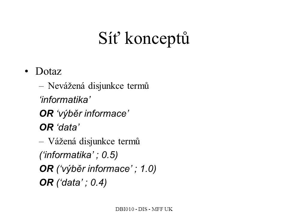 DBI010 - DIS - MFF UK Síť konceptů Dotaz –Nevážená disjunkce termů 'informatika' OR 'výběr informace' OR 'data' –Vážená disjunkce termů ('informatika' ; 0.5) OR ('výběr informace' ; 1.0) OR ('data' ; 0.4)