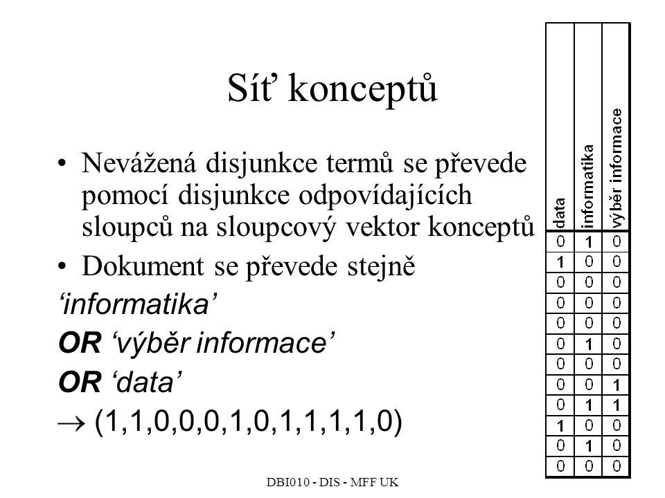 DBI010 - DIS - MFF UK Síť konceptů Nevážená disjunkce termů se převede pomocí disjunkce odpovídajících sloupců na sloupcový vektor konceptů Dokument se převede stejně 'informatika' OR 'výběr informace' OR 'data'  (1,1,0,0,0,1,0,1,1,1,1,0)