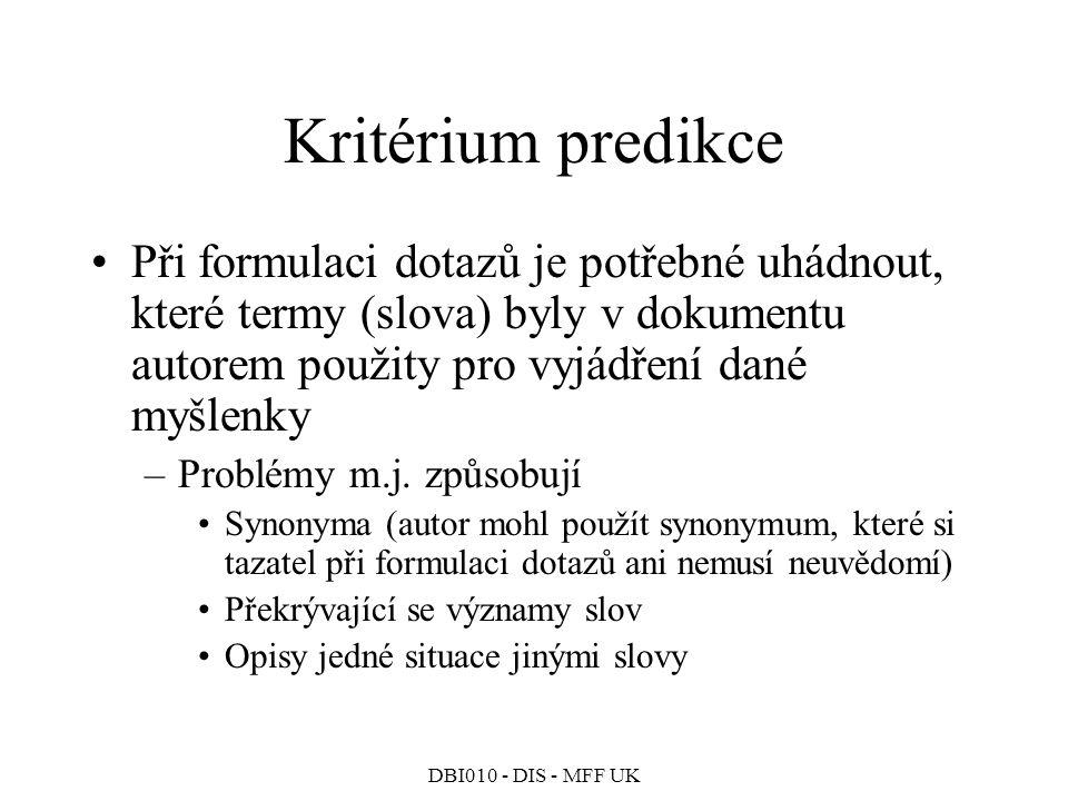 DBI010 - DIS - MFF UK Kritérium predikce Při formulaci dotazů je potřebné uhádnout, které termy (slova) byly v dokumentu autorem použity pro vyjádření dané myšlenky –Problémy m.j.