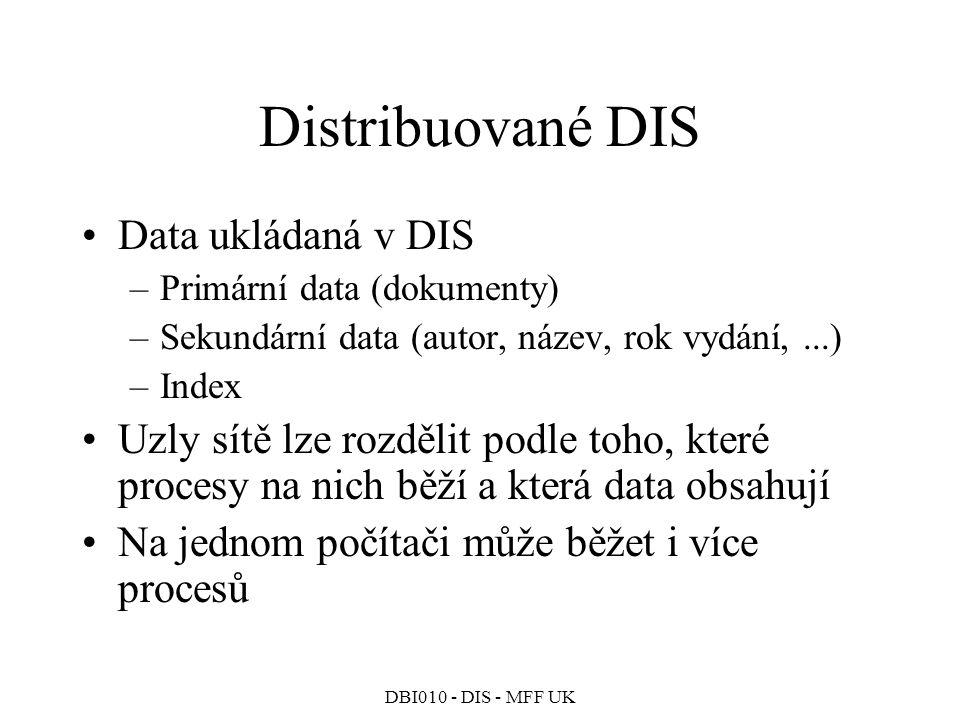DBI010 - DIS - MFF UK Distribuované DIS Data ukládaná v DIS –Primární data (dokumenty) –Sekundární data (autor, název, rok vydání,...) –Index Uzly sítě lze rozdělit podle toho, které procesy na nich běží a která data obsahují Na jednom počítači může běžet i více procesů