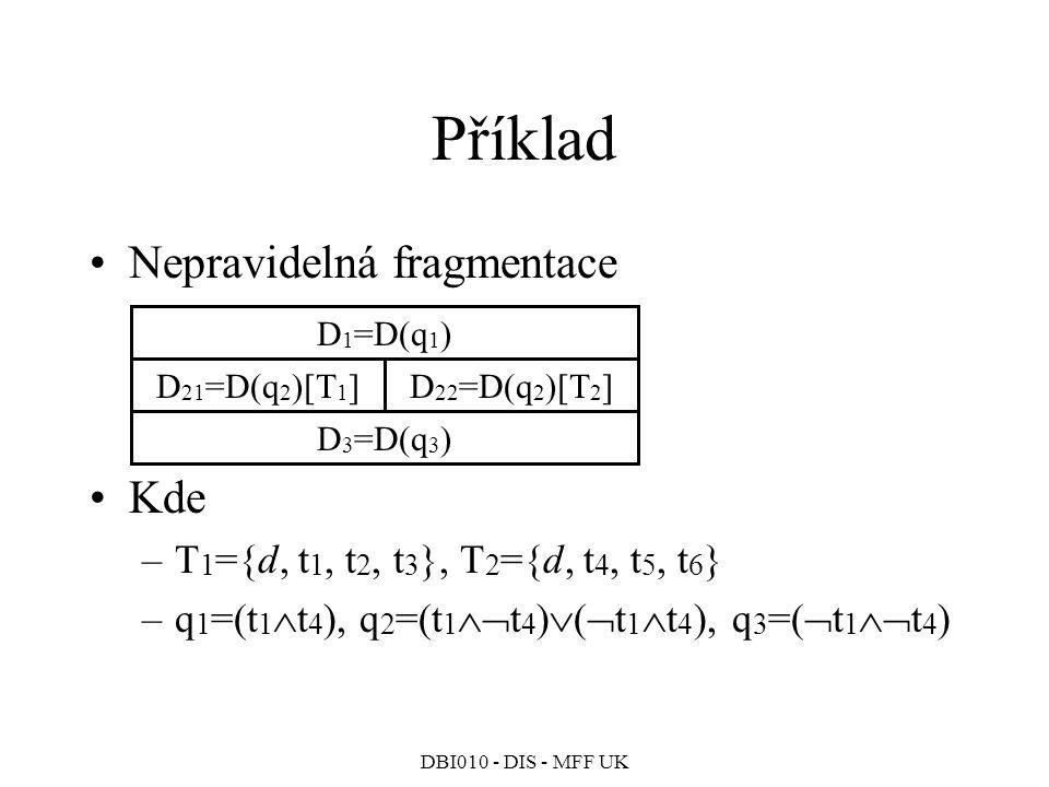DBI010 - DIS - MFF UK Příklad Nepravidelná fragmentace Kde –T 1 ={d, t 1, t 2, t 3 }, T 2 ={d, t 4, t 5, t 6 } –q 1 =(t 1  t 4 ), q 2 =(t 1  t 4 )  (  t 1  t 4 ), q 3 =(  t 1  t 4 ) D 1 =D(q 1 ) D 21 =D(q 2 )[T 1 ]D 22 =D(q 2 )[T 2 ] D 3 =D(q 3 )