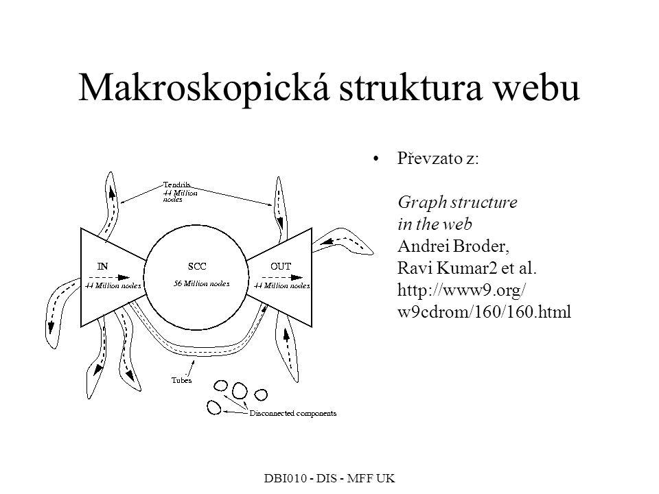 DBI010 - DIS - MFF UK Makroskopická struktura webu Převzato z: Graph structure in the web Andrei Broder, Ravi Kumar2 et al.