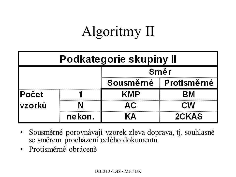 DBI010 - DIS - MFF UK Algoritmy II Sousměrné porovnávají vzorek zleva doprava, tj.