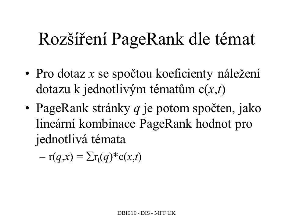 DBI010 - DIS - MFF UK Rozšíření PageRank dle témat Pro dotaz x se spočtou koeficienty náležení dotazu k jednotlivým tématům c(x,t) PageRank stránky q je potom spočten, jako lineární kombinace PageRank hodnot pro jednotlivá témata –r(q,x) =  r t (q)*c(x,t)
